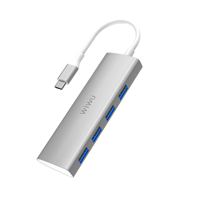 WiWU Alpha 440 Aluminum Alloy Data Transfer Usb Type C Hub with 4 Usb 3.0 Port for Mobile Devices