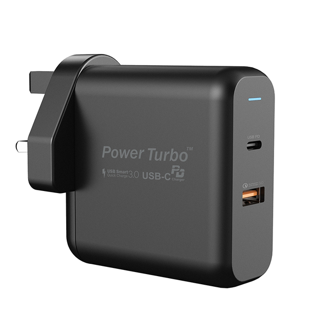 WiWU PT6021 USB-C Black 60W Fast Charging Wall Charger for Tablet And Laptop