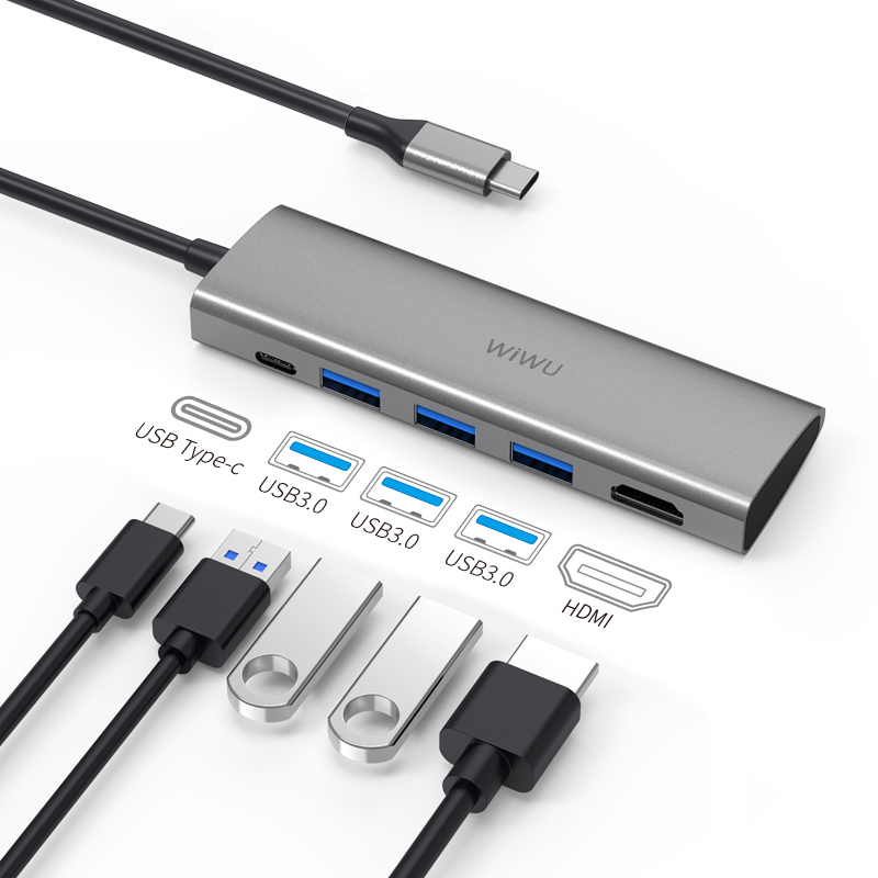 WiWU Alpha A531H Data Transfer Usb- C Hub with 3 Usb 3.0 Port HDIM Port for Mobile Devices