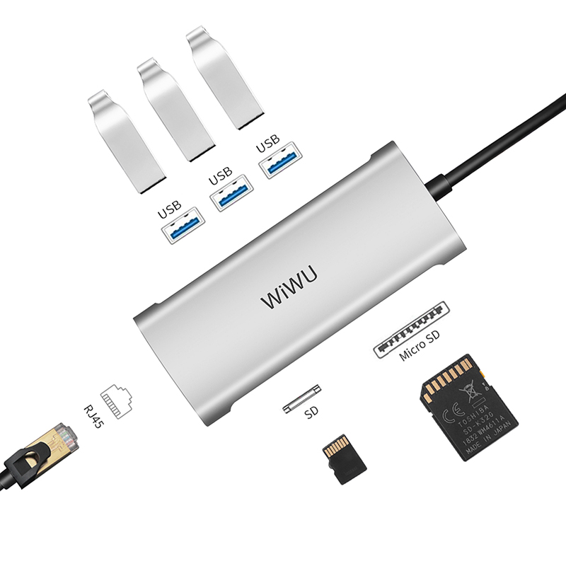 WiWU Alpha 631STR Multi-function USB C Hub Adapter To USB 3.0 Ethernet SD/TF Card Reader Dongle Station for Macbook